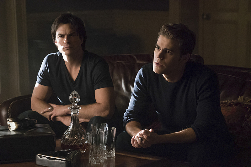 """The Vampire Diaries -- """"Mommie Dearest"""" -- Image Number: VD707b_0072.jpg -- Pictured (L-R): Ian Somerhalder as Damon and Paul Wesley as Stefan -- Photo: Annette Brown/The CW -- © 2015 The CW Network, LLC. All rights reserved."""