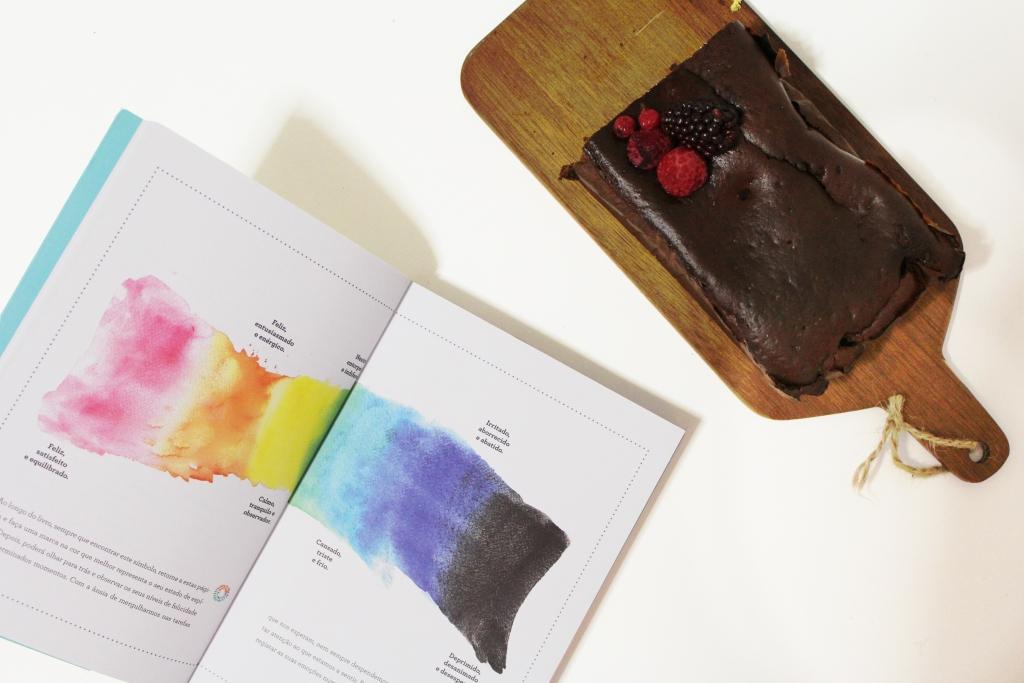 """bolo de alfarroba e frutos vermelhos e livro """"Feliz"""""""